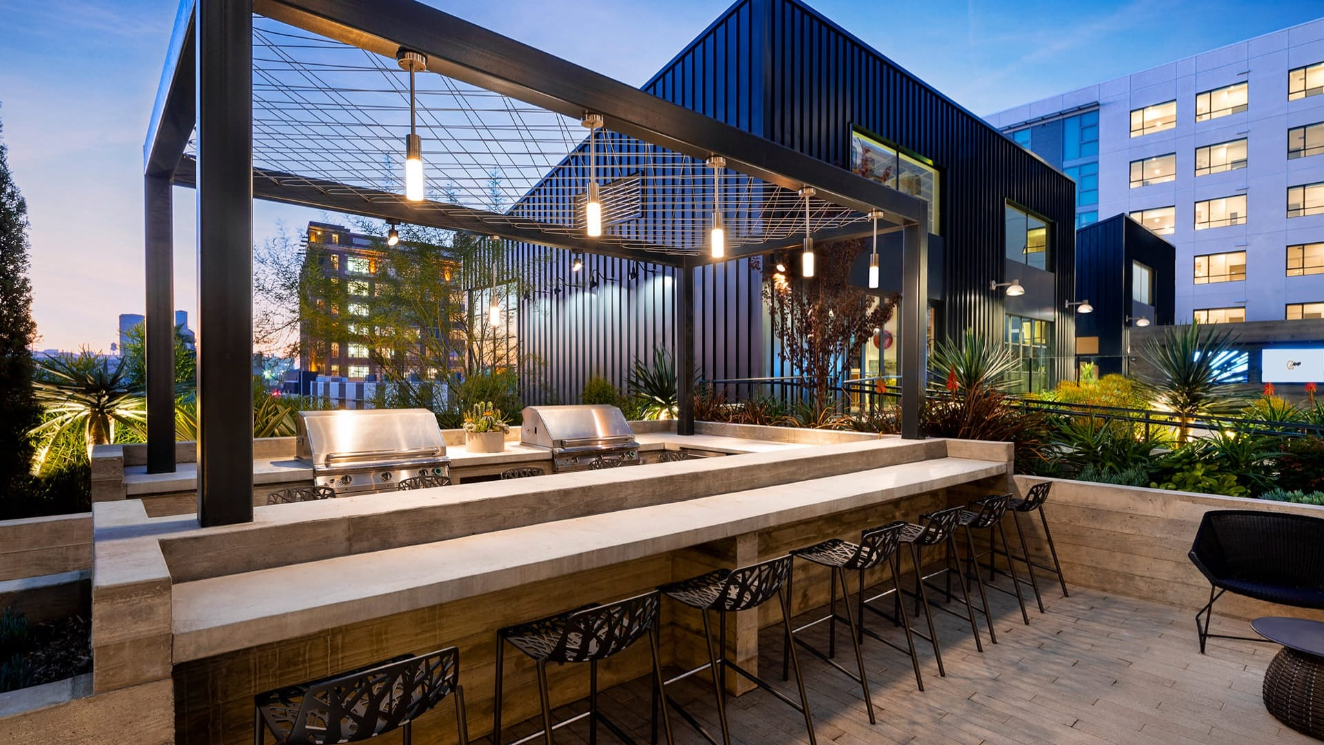 rooftop grill area and countertop seating